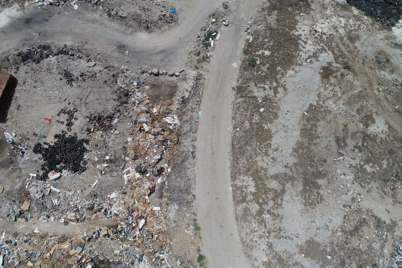 Photo of a landfill capacity calculation survey from a drone