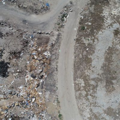Photo of a landfill from a drone